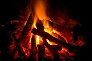 Logs of wood lit on fire