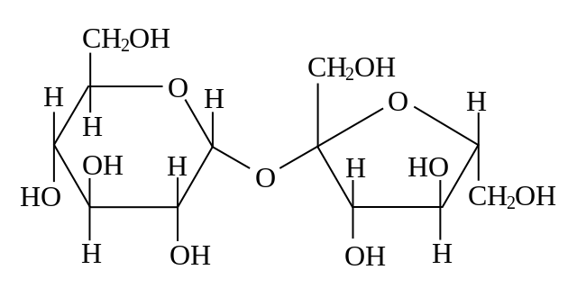 Elemental structure of sucrose