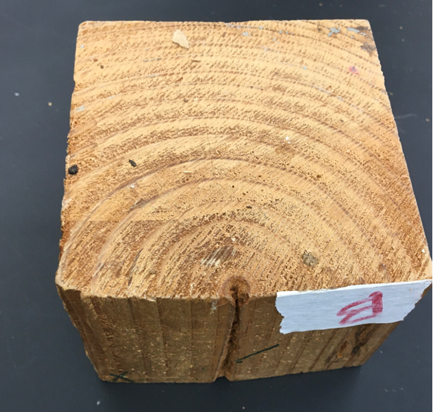 A square block of wood in cross section, labeled B