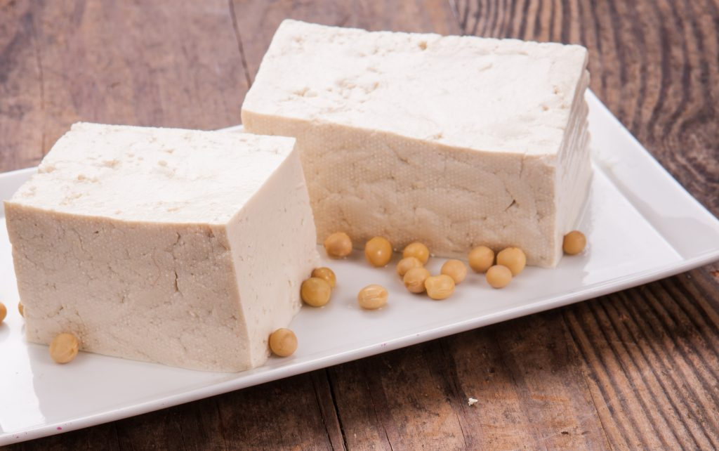 two blocks of tofu on a square plate