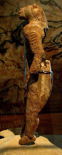 """Figure 8.80 """"Lion Man"""" Aurignacian artifact. Oldest known zoo-/anthropo-morphic figurine (40 kya) from Hohlenstein-Stadel cave, Germany. """"Lion man photo"""" by JDuckeck is in the public domain."""