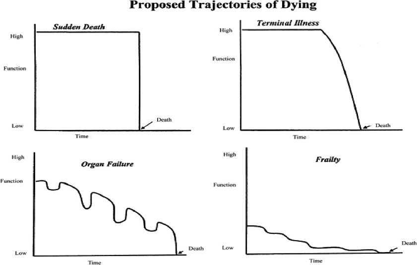 Figure 2.1 Proposed Trajectories of Dying. Reprinted with permission from Lunney, Lynn & Hogan, 2002.